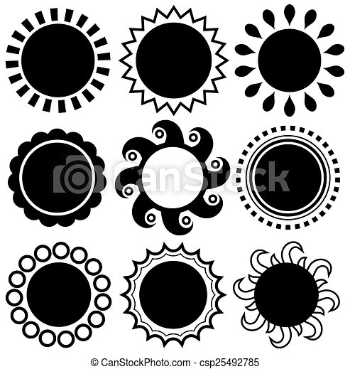 monochromia, abstrakcyjny, komplet, temat, słońce - csp25492785