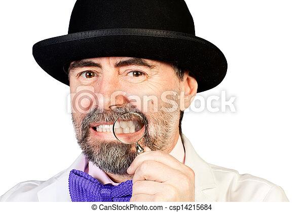 monocle, sien, deux âges, main, portrait, heureux, chapeau, homme - csp14215684