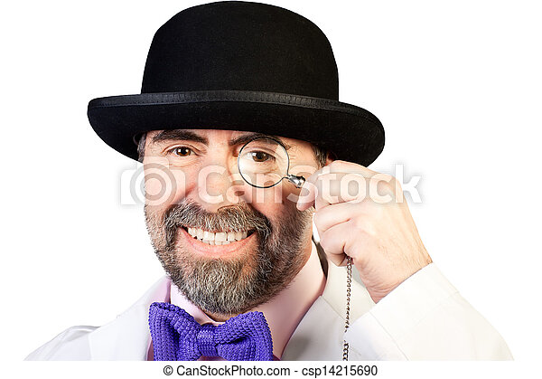 monocle, sien, deux âges, main, portrait, heureux, chapeau, homme - csp14215690