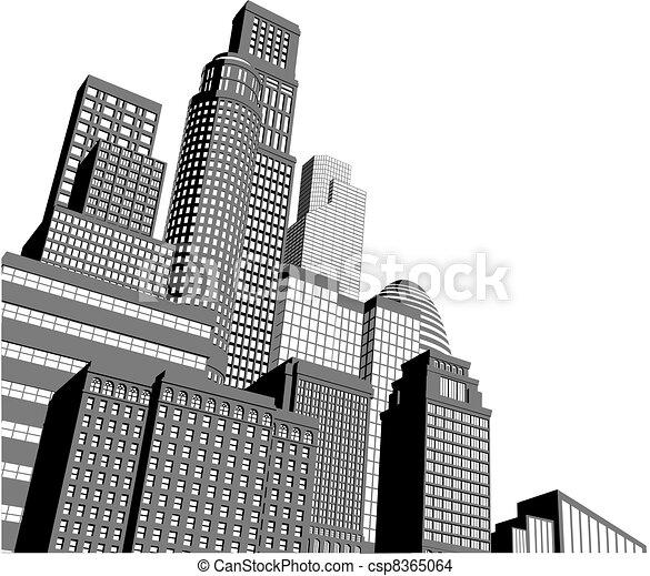monocromatico, grattacieli, città - csp8365064