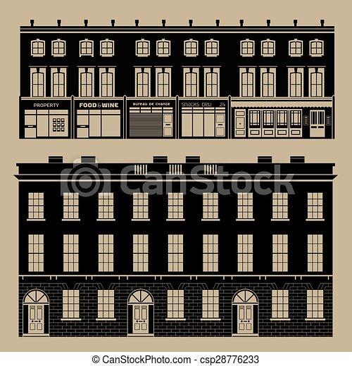 Monocromatico, inglese, terrazzo, case. Costruzioni, set ...