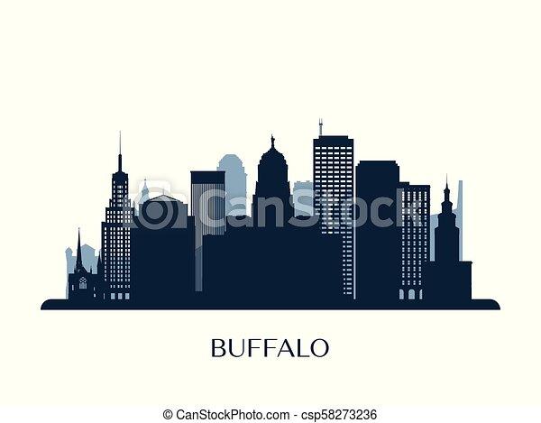 Skyline de Buffalo, silueta de monocromo. - csp58273236