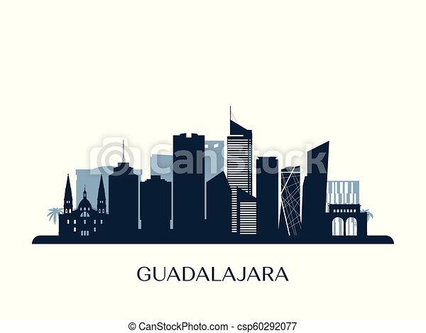 Skyline Guadalajara, silueta de monocromo. - csp60292077