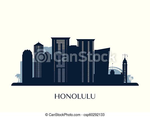 Skyline Honolulu, silueta monocromática. - csp60292133