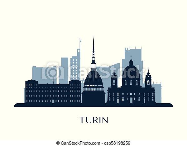 Skyline Turín, silueta de monocromo. - csp58198259