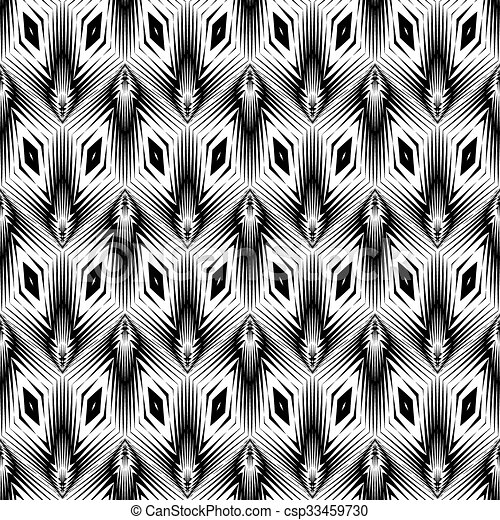 Diseño monocromo sin costura patrón geométrico - csp33459730