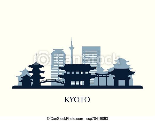 El horizonte de Kyoto, silueta de monocromo. - csp70419093