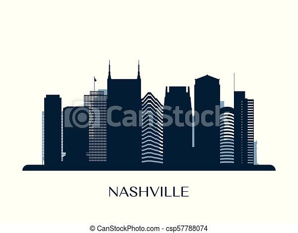 Skyline de Nashville, silueta de monocromo. - csp57788074