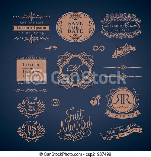 monogram, スタイル, 型, 結婚式, フレーム, ボーダー - csp21987499