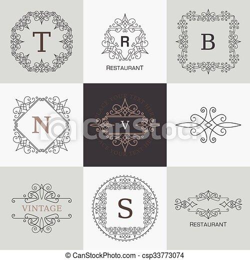 monogram, elemente, verzierung, calligraphic, elegant, flourishes, schablone, logo - csp33773074