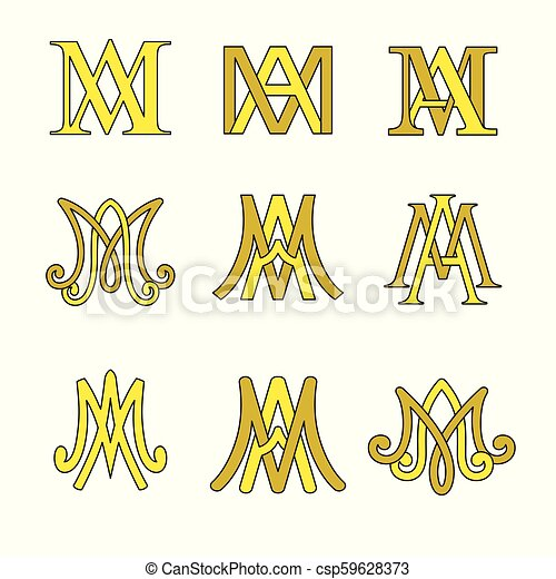 Monogram Of Ave Maria Symbols Set Religious Catholic Signs