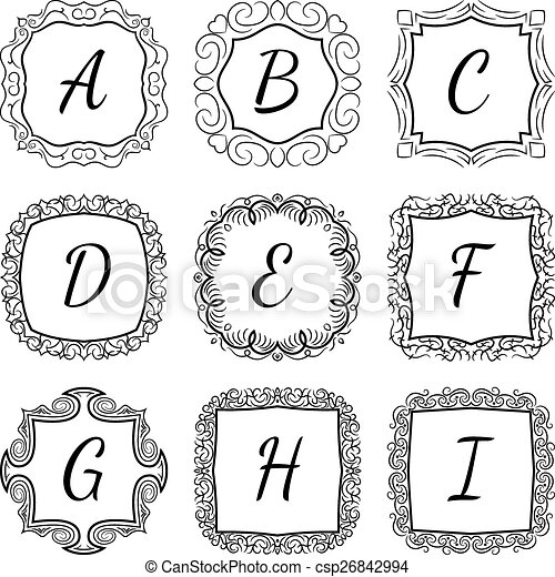 Monogram set hand drawn style in black and white colors with frames ...