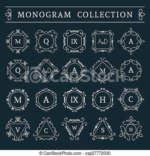 monogram, vendange, vecteur, ensemble - csp27772030