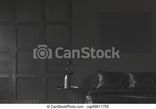 Monotone Dark Black Bedroom Interior
