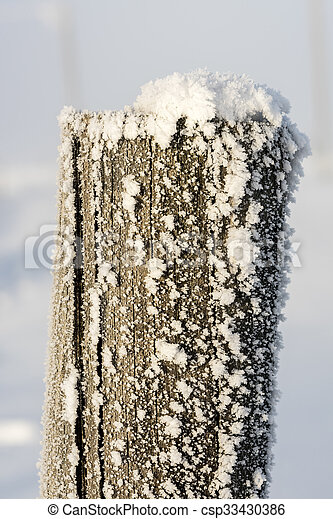 Monring light on a frost covered fence post - csp33430386