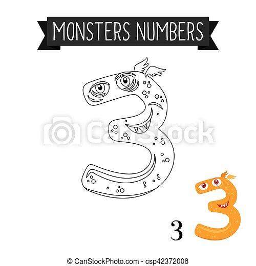 Monster, 3, färbung, zahl, seite. Färbung, zahl, abbildung, seite, 3 ...