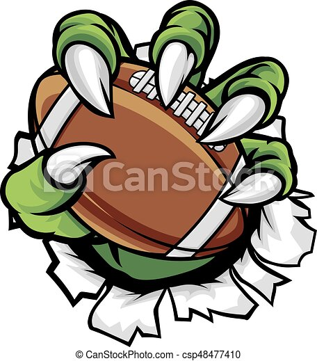Monster animal claw holding American Football Ball - csp48477410