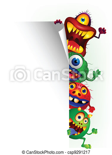 Monster cartoon with blank sign - csp9291217