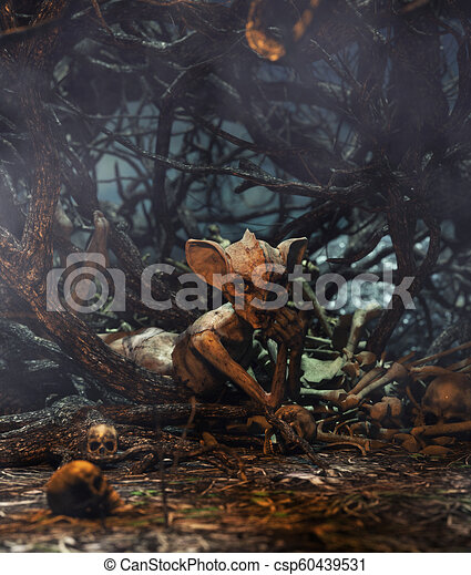 Monster creature woman in creepy forest