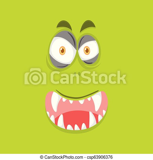 Monster face on lime green background - csp63906376