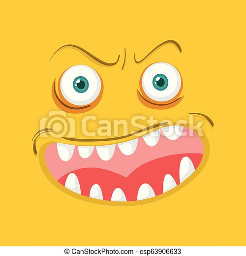 Monster face on orange background - csp63906633