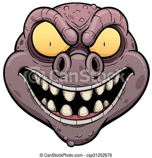 vector illustration of cartoon monster face
