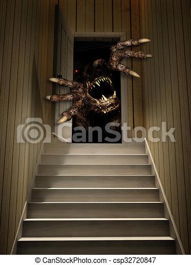 Monster in open door - csp32720847