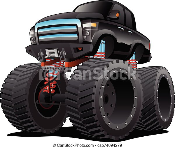 Monster Pickup Truck Cartoon Isolated Vector Illustration Very Cool Highly Detailed American Monster Pick Up Truck Cartoon