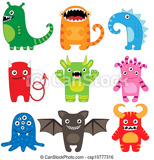 monster set set of different cute funny cartoon monsters rh canstockphoto com pictures of cartoon monsters for kids pictures of cute cartoon monsters