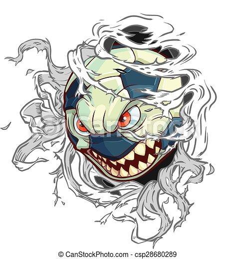 Monster Soccer Ball rips background - csp28680289