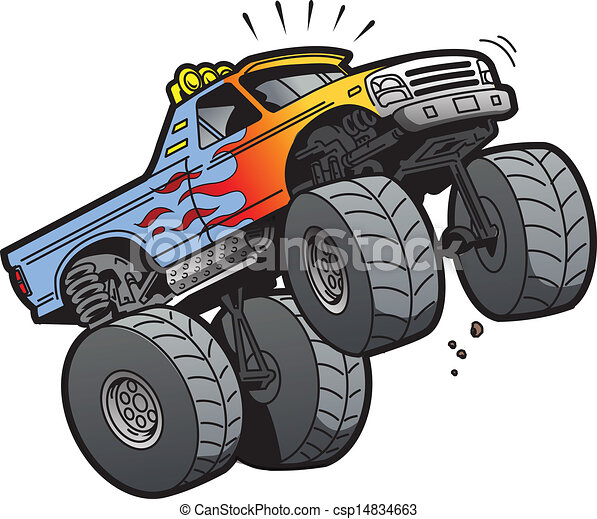 Cartoon Illustration Of A Cool Monster Truck Jumping Or Clip - Cool cars jumping