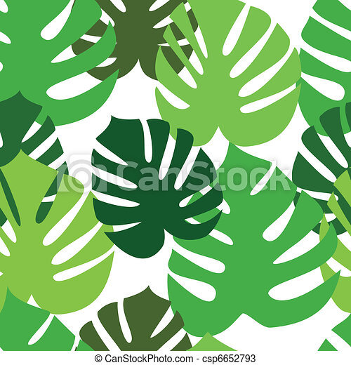 Monstera floral leaves pattern - csp6652793