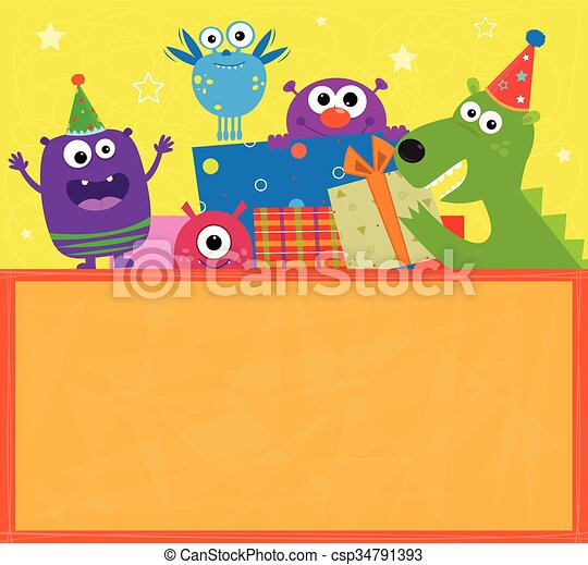 monsters birthday banner colorful birthday sign with cute cheerful