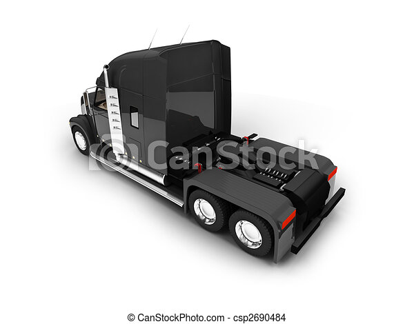 Monstertruck isolated black back view - csp2690484