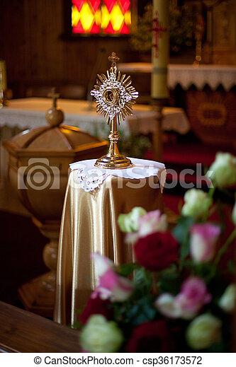 Monstrance in some lithuanian Roman Catholic church - csp36173572