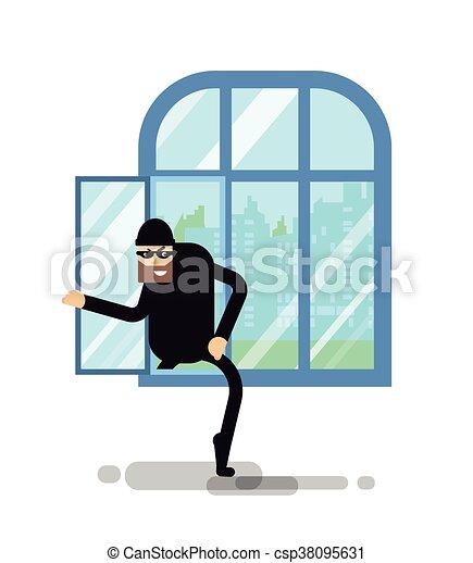 montées, isolé, illustration, voleur, fenêtre, par - csp38095631