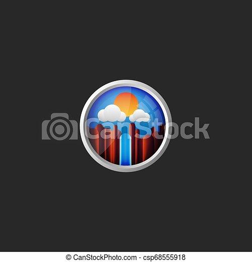 Un paisaje de montaña con una cascada en un fondo de cielo azul con nubes vistas desde la ventana del avión el logotipo redondo original de 3D para una agencia de viajes - csp68555918