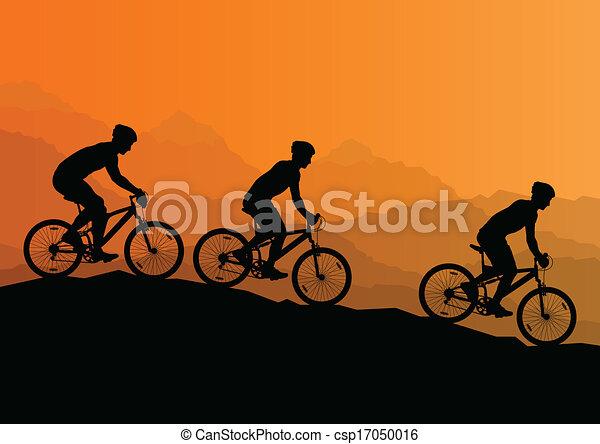 Hombres activos ciclistas ciclistas ciclistas en naturaleza salvaje paisaje paisaje exterior vector de ilustración de fondo - csp17050016