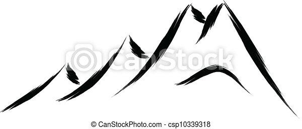 montaña, bosquejo - csp10339318