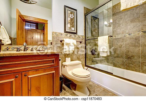 Montaña, cuarto de baño, tub., ducha, casa luxury, cabaña. Montaña ...