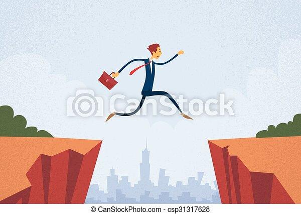 El empresario salta por la montaña Cliff - csp31317628