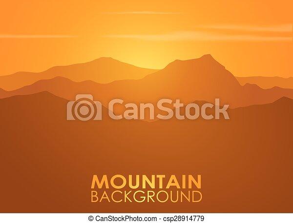 Alcance de montaña sobre el atardecer. Antecedentes de vector. - csp28914779