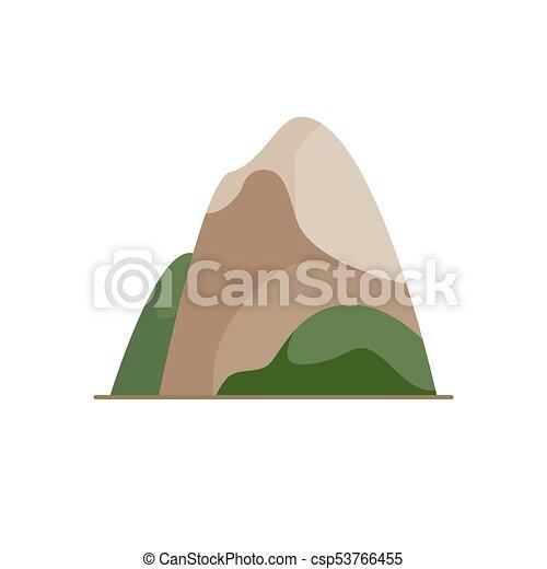 Montaña, estilo, icono, plano. Montaña, coloreado, plano, símbolo ...