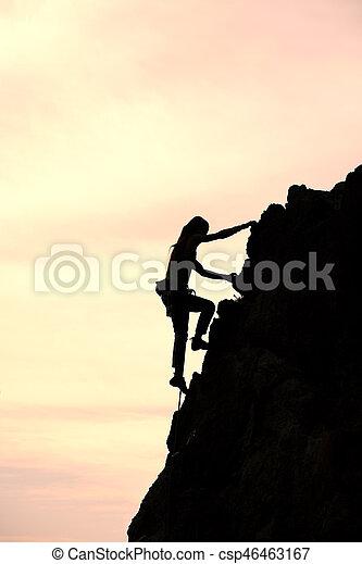montaña, fantástico, cumbre, conquistar, solamente, durante, subida, ocaso, niña, paisaje - csp46463167
