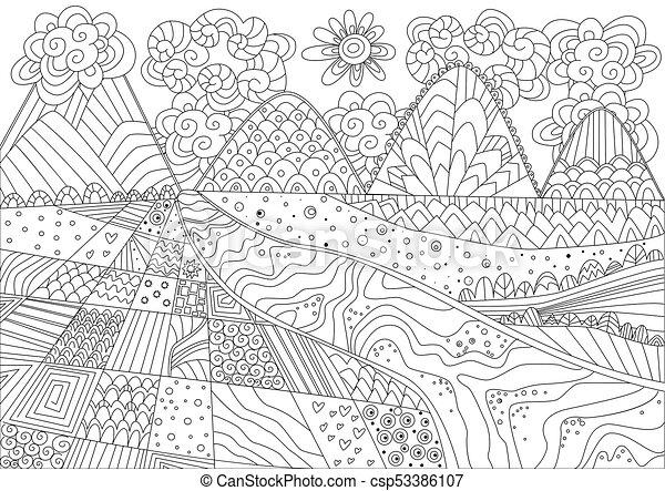Montaña, libro colorear, paisaje, magnífico.