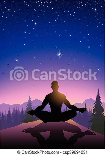 La ilustración de un hombre meditando en la montaña - csp39694231