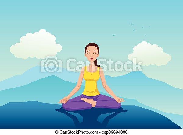 Mujer meditando en la montaña - csp39694086