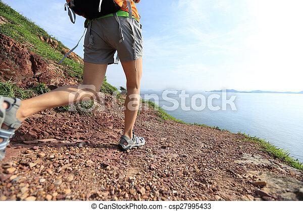 bb941b0e8a8 Montaña, mujer, rastro, joven, mochilero, montañismo.
