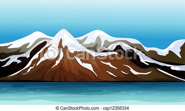 Grficos vectoriales de montaa nieve cubri  Illustration de