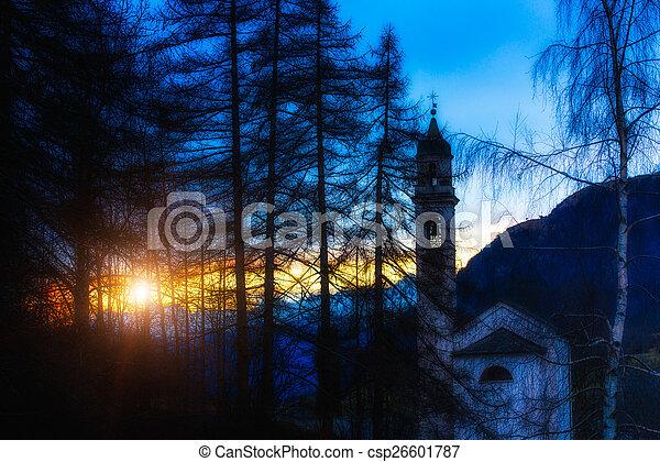 montaña, ocaso, iglesia - csp26601787